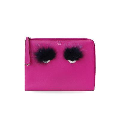 bag bug fur clutch pink